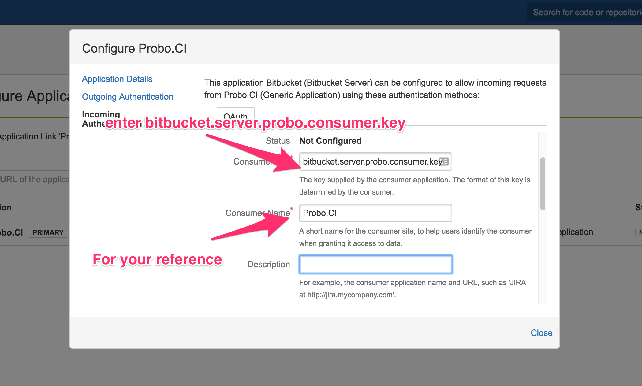 Bitbucket Server configuration form on Incoming Authentication tab with arrows pointing to the Consumer Key and Consumer Name fields.