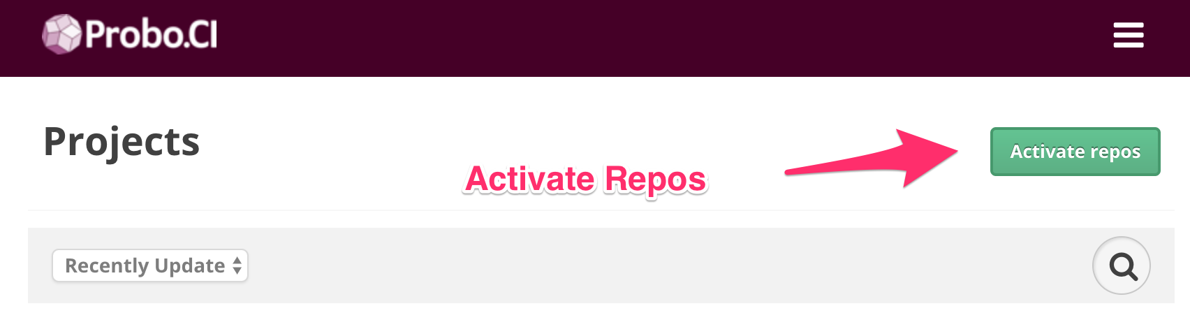 Arrow pointing to the Activate Repositories button in the Probo web app.
